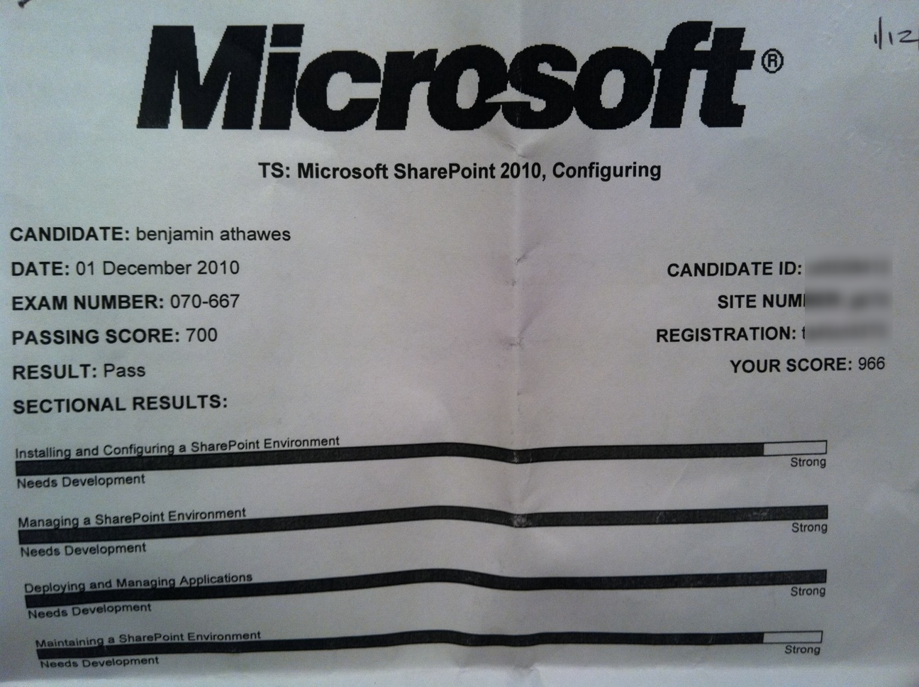 Ive passed sharepoint 2010 configuring 70 667 sharepoint 70 667 preliminary results blurredg 1betcityfo Choice Image