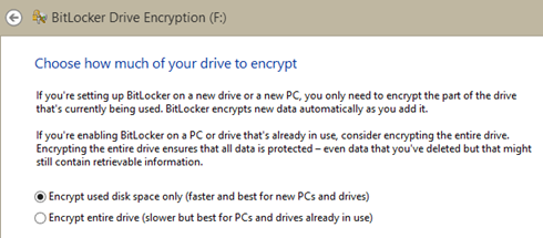 Resolving partial encryption problems with BitLocker